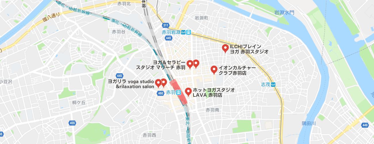 ヨガ赤羽の地図検索