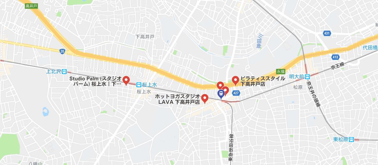 ヨガ下高井戸の地図検索結果
