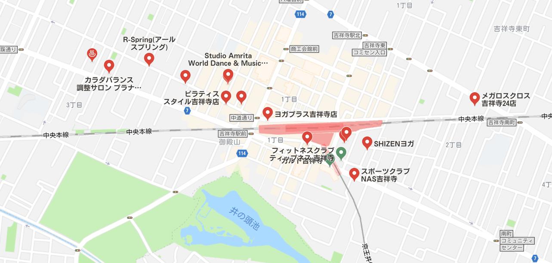 吉祥寺ヨガマップ検索結果