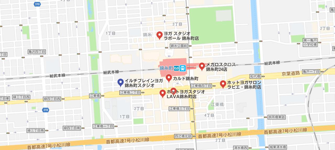 ヨガ錦糸町のグーグルマップ検索結果