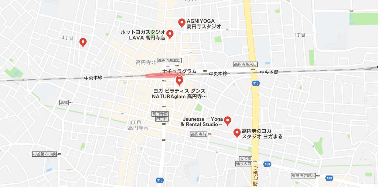 ヨガ高円寺マップ検索結果画像