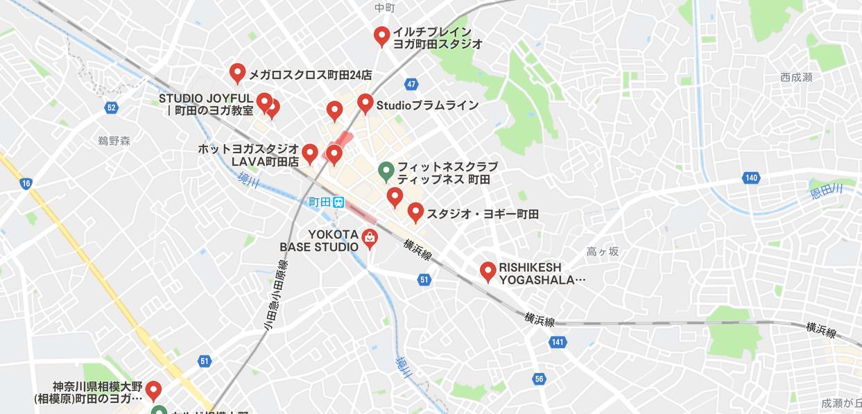 町田ヨガのグーグルマップ検索結果