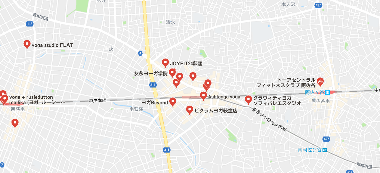 ヨガ荻窪マップ