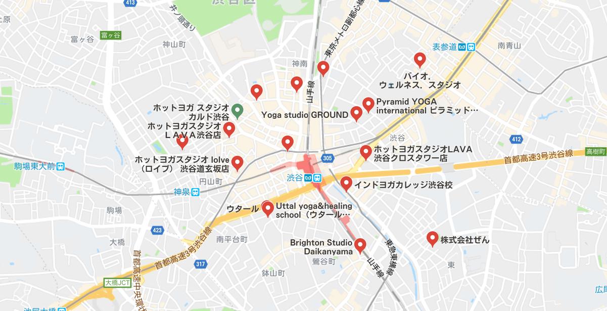 渋谷駅周辺のヨガマップ