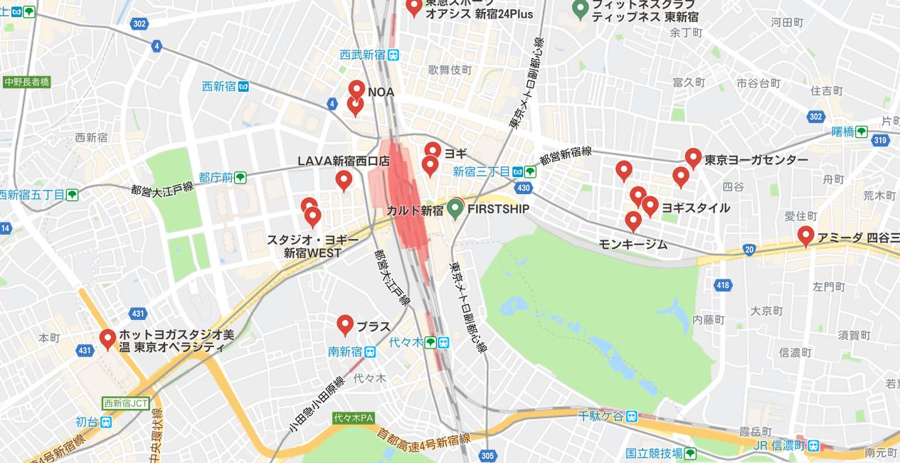新宿駅周辺のマップ検索結果