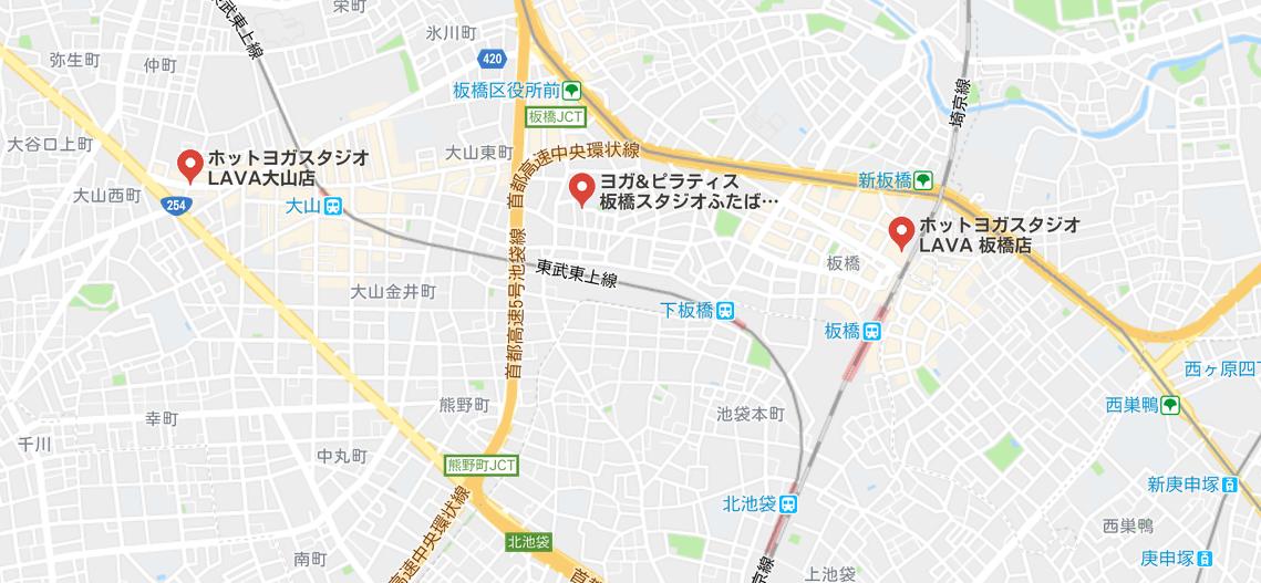 ヨガ板橋の地図検索結果