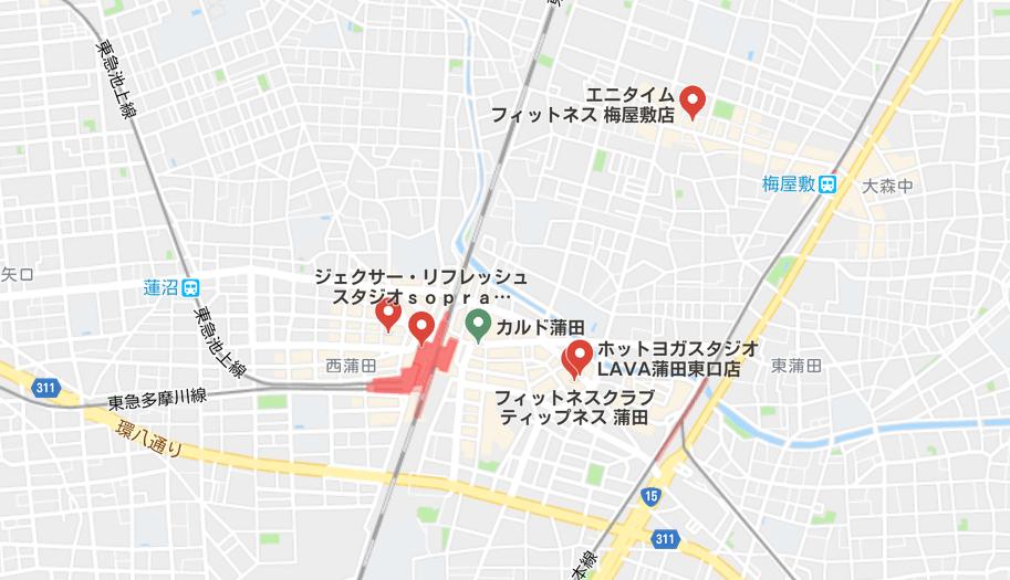 ヨガ蒲田マップ
