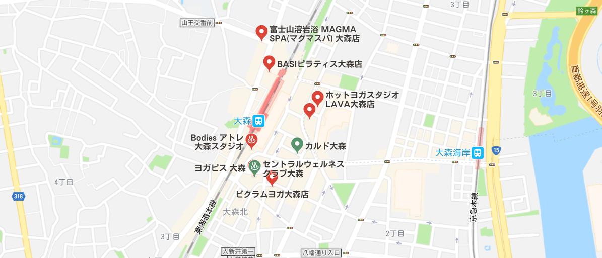 ヨガ大森マップ検索結果の画像