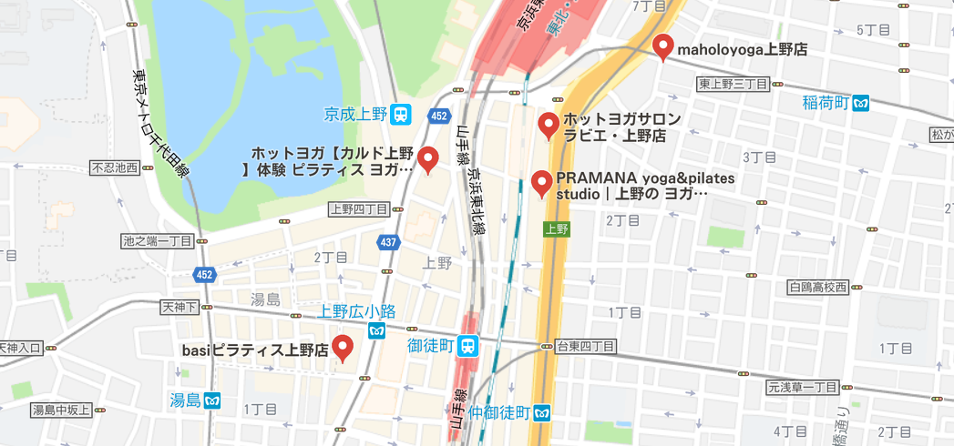 上野駅周辺のヨガマップ