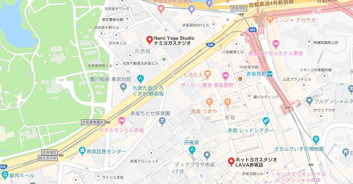 赤坂駅周辺のヨガマップ