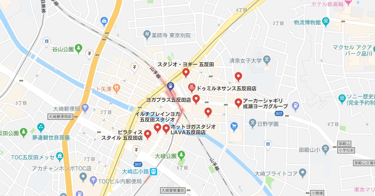 五反田駅周辺のヨガマップ