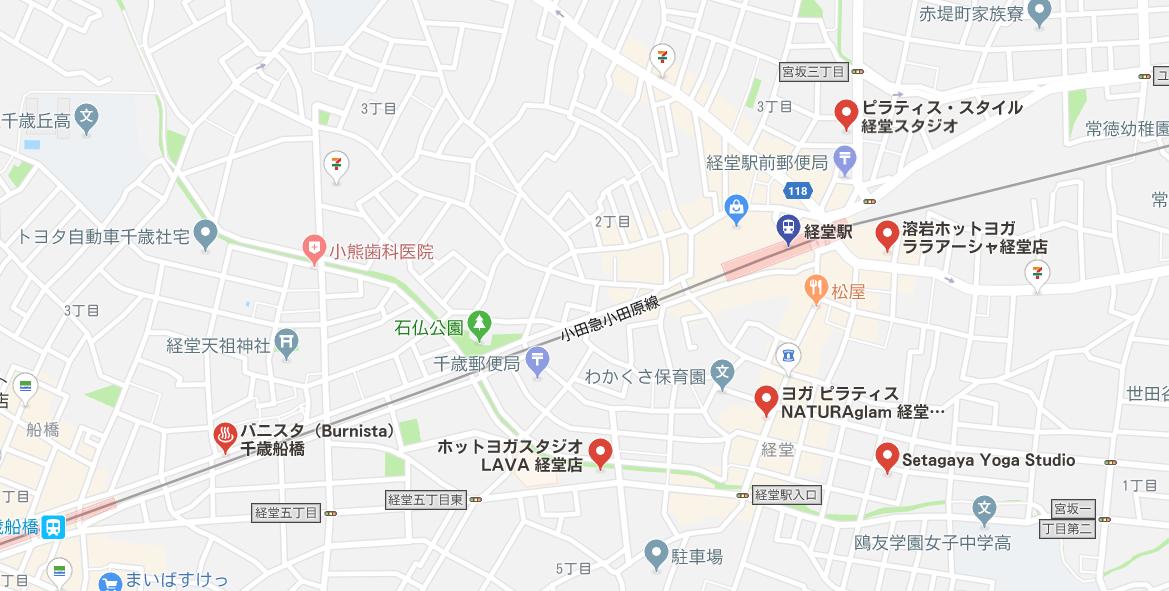 経堂駅周辺にあるヨガの地図