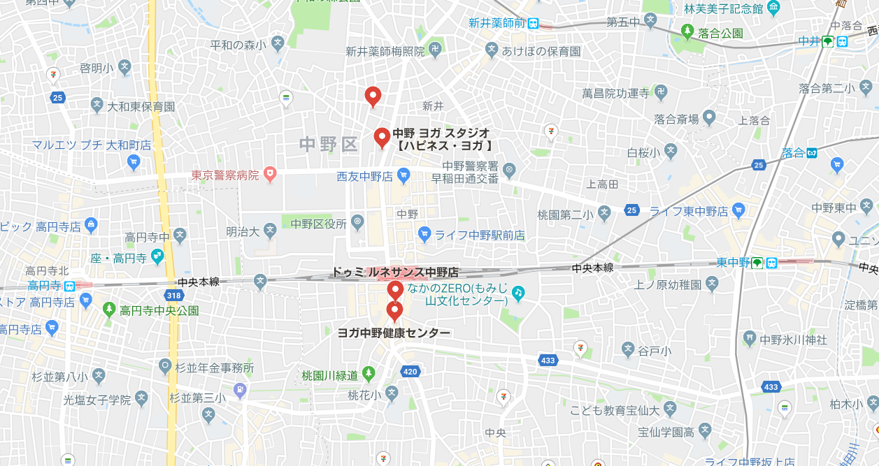 中野駅近辺のヨガマップ