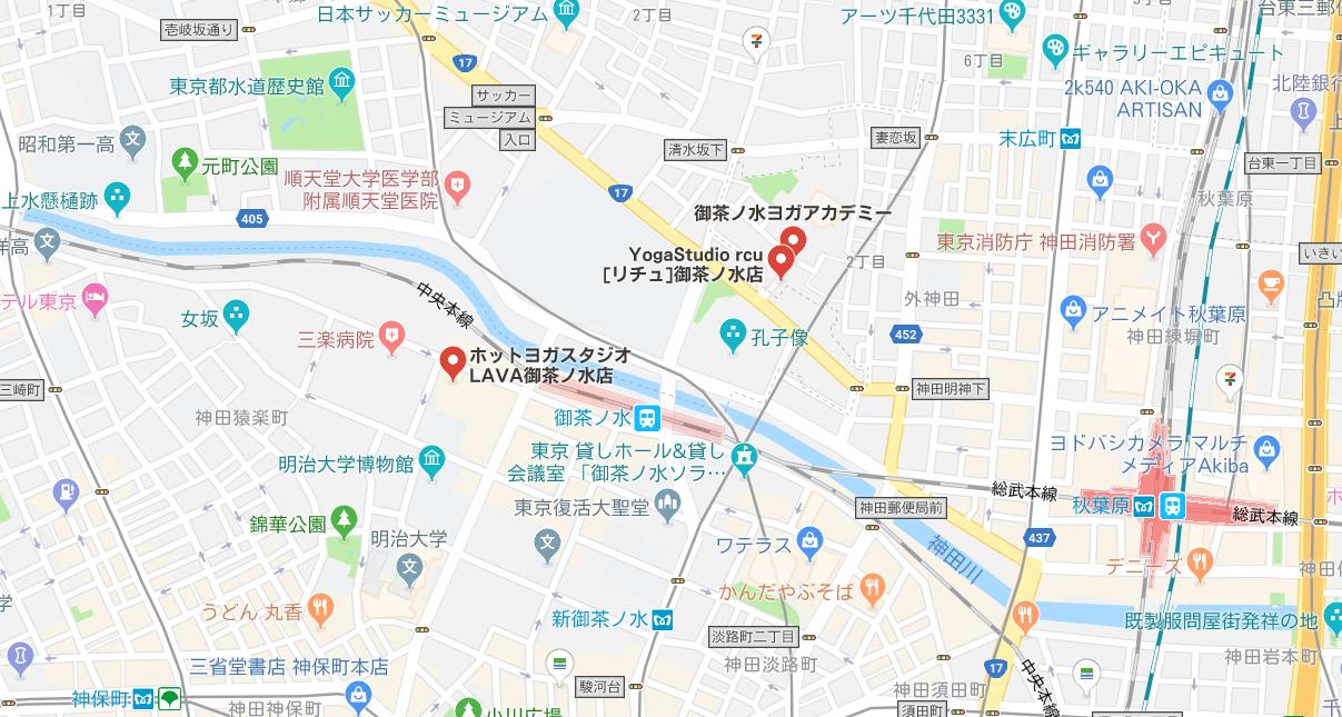 御茶ノ水駅周辺にあるヨガのマップ検索結果