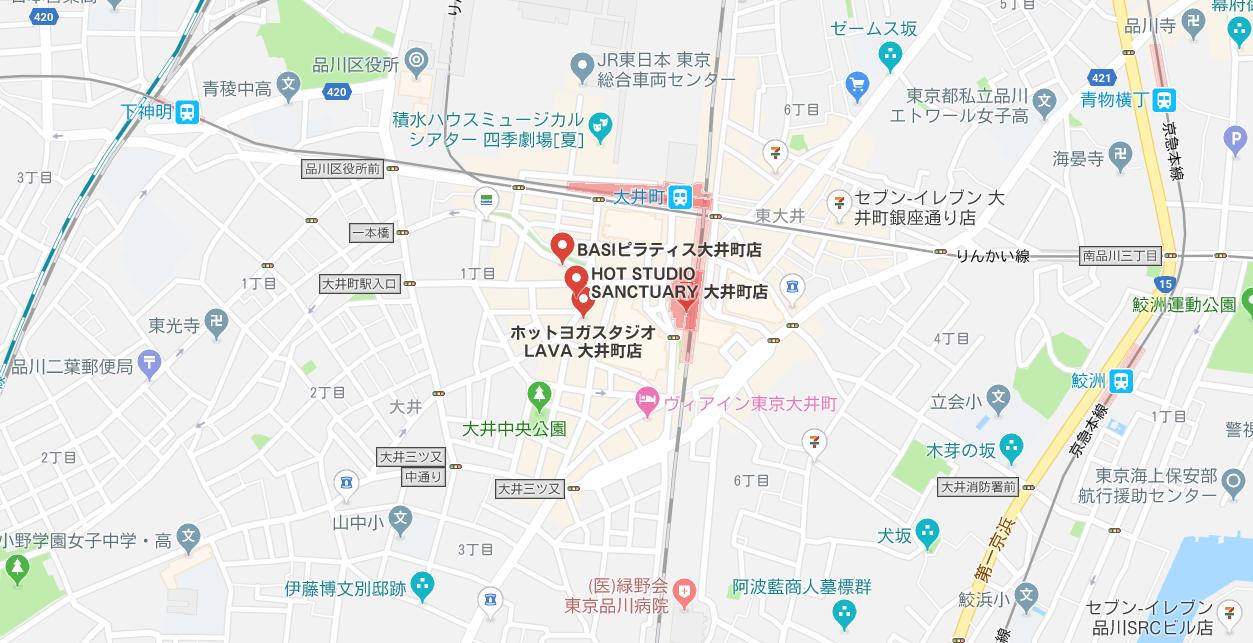 大井町のヨガマップ