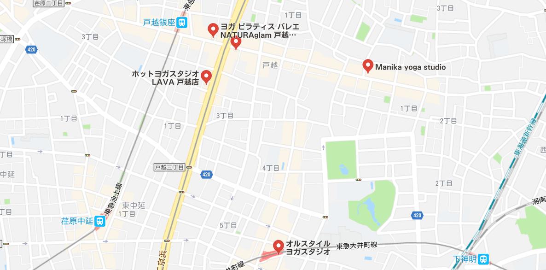 戸越ヨガの地図検索結果