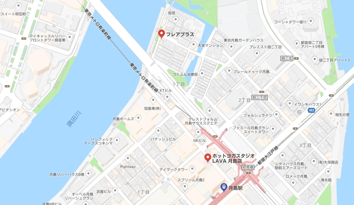 月島駅周辺のヨガマップ
